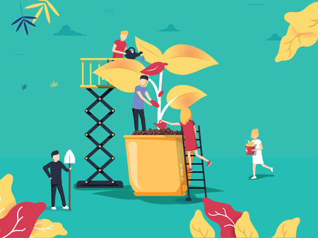 vector illustration. people grow plants in pots. phytomodule for domestic farming. creative design eco-garden concept. Agriculture concept, botany flowers care. Cultivation, gardening and seeding 向量圖像