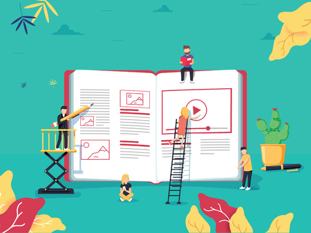 Online education concept with small people studying near big e-book and online course. Vector illustration in flat style. Business educational Webinar or classroom. Digital Learning app design Vectores