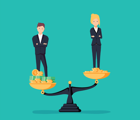 Gender gap and inequality in salary, pay vector concept. Businessman and businesswoman on piles of coins. Symbol of discrimination difference and injustice. Vector illustration. Career offer