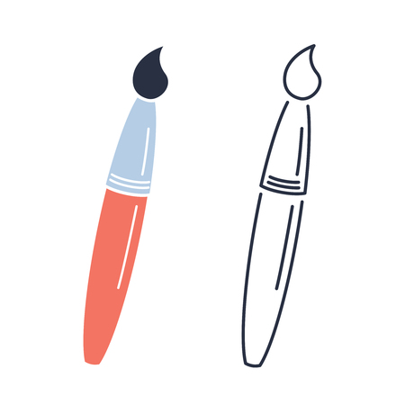 Paint brush icon. Drawing concept minimalistic outline and colored symbols. Paintbrush tool creative craft hobby sign. Linear paint instrument design. Stroke vector illustration. Illustration