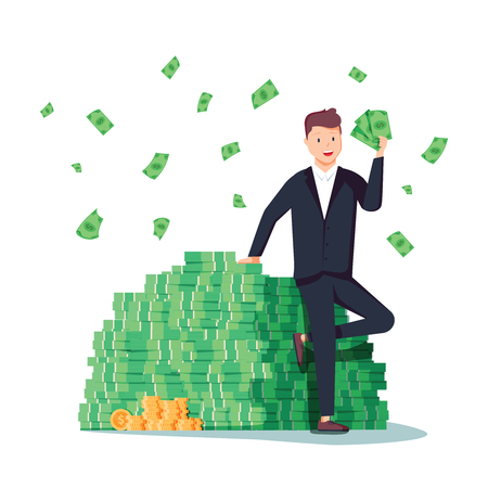Happy rich man sitting confidently on big heap of stacked money dangling his leg. Billionaire business man or smiling banker leaning on a huge cash pile. Business success. Flat vector illustration Illustration