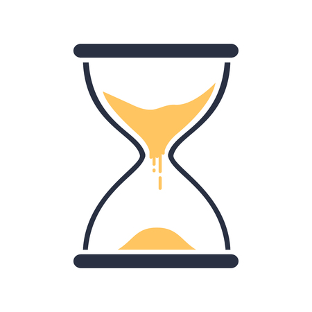 Hour glass sign. Transparent sandglass icon, time hourglass, sandclock flat design, vector eps10 illustration. Time passing concept for business deadline, urgency and running out of time.