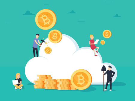 Cryptocurrency cloud mining. Flat design style web banner of block chain technology, bitcoin and altcoins cryptocurrency mining, finance digital money market or cryptocoin wallet, crypto exchange.