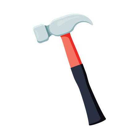 Carpenter hammer tool icon. Vector illustration in flat style. Construction equipment. Home repairs concept. Isolated on background. Construction works typical symbol. Industrial instrument.