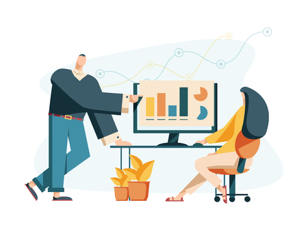 Vector creative illustration of business graphics, the company is engaged in the joint construction of column graphs, the rise of the career to success, flat color icons, business analysis Illustration