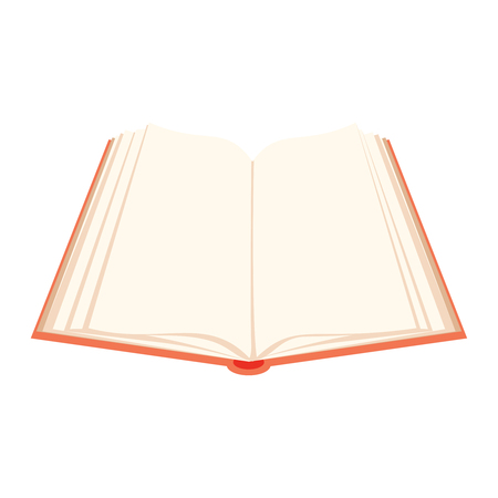 Vector open book. Red covered opened book with pages fluttering. Education design for e-reader or online reading. Knowledge symbol with literature textbook.
