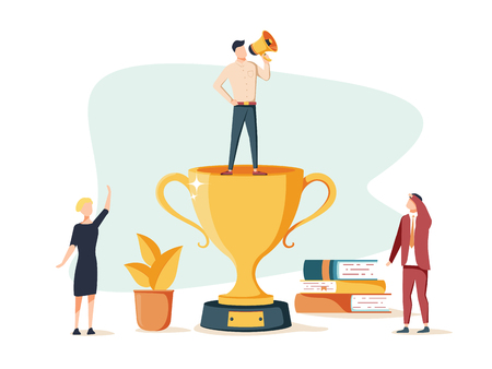 Vector business illustration. People are happy with the victory in the team. Ways and goals. Successful business. First place in business. Graphic design man with a rupaar stands on top of a gold cup. Ilustração