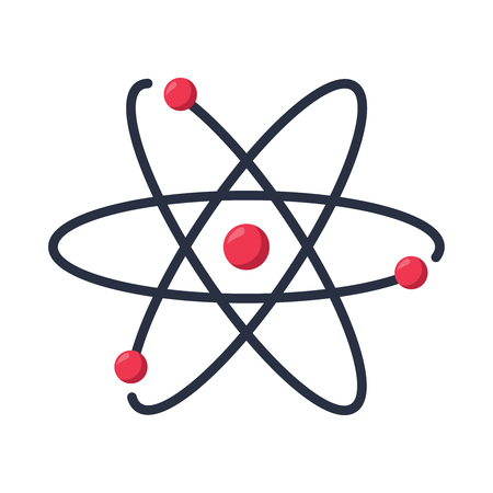 Atom icon vector symbol.science research. Structure of the nucleus of the atom. Around gamma waves and protons, neutrons and electrons. New technology concept