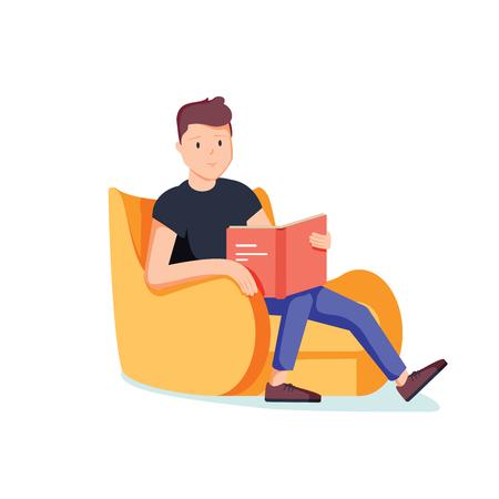 Caucasian white man relaxing with a book on the armchair. Young clever student reading a novel at home. Vector cartoon illustration isolated on white background. Square layout.