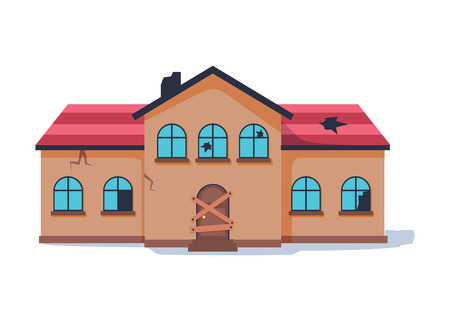 Old abandonded house cartoon vector illustration. Decaying suburban cottage with broken windows.  イラスト・ベクター素材
