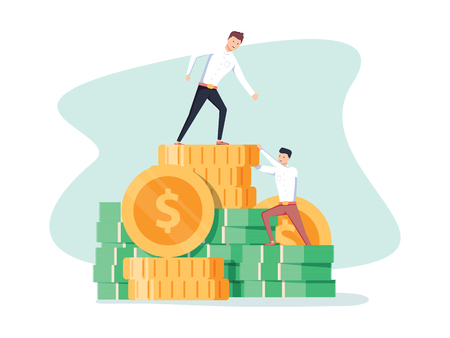 Pay rise business vector concept. Career ladder climbing, salary increase symbol with businessman climbing. Illustration