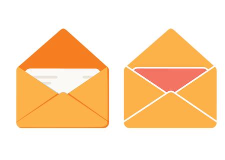 Icono de mensaje, icono de correo de vector de ilustración de sobre, enviar carta aislada. Nuevo correo electrónico o diseño de dibujos animados planos. Sobre de correo electrónico con notificación recibida, idea de mensaje de boletín, carta electrónica Foto de archivo - 102287862