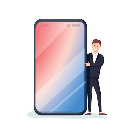 携帯電話の後ろから覗く女性ミレニアル世代のキャラクター。スマートフォンでテキストを入力するための空白スペース。テンプレート。スマートフォン画面。フラット編集可能なベクトルイラスト、クリップアート。