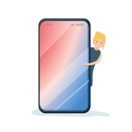 Female millennial character peeping out from behind the mobile phone. Blank space for your text on smartphone. Template. Smart phone screen. Flat editable vector illustration, clip art.  イラスト・ベクター素材