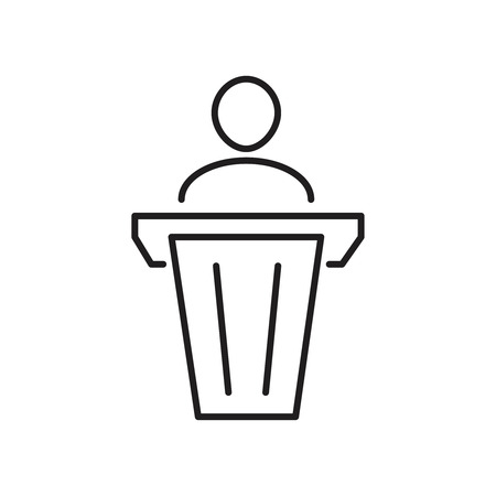 Simple man in pulpit line icon. Public speaking symbol and sign vector illustration design. Isolated on white background Illustration