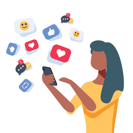 Young african-american woman using a smartphone with many social media heart like icons. Woman getting likes in social network. Vector cartoon illustration isolated on white background. Square layout. Illustration