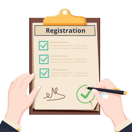 Man hold Registration clipboard with checklist. Man hold in hand clipboard agreement. Flat design, vector illustration on background. Agreement business document with checklist form. Register report Vectores