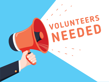 Male hand holding megaphone with volunteers needed speech bubble. Loudspeaker. Banner for business, marketing and advertising. Vector illustration. Business recruitment ad for charity work concept. Illustration