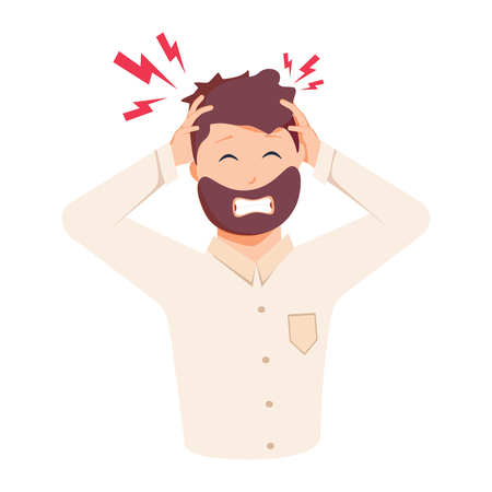Headache, frustration, anger. Flat design vector illustration. Health And Pain. Stressed Exhausted Young man Having Strong Tension Headache. Closeup Picture Of Businessman Suffering From Head Migraine