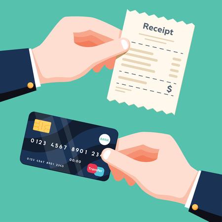 Mano que sostiene el recibo y mano que sostiene la tarjeta de crédito. Concepto de pago sin efectivo. Ilustración de vector de diseño plano aislado sobre fondo verde. Contabilidad de pagos online, notificación electrónica con recibo