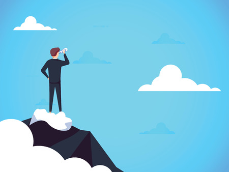 Business vision vector concept with business man standing on top of mountain above clouds. Symbol of new opportunities