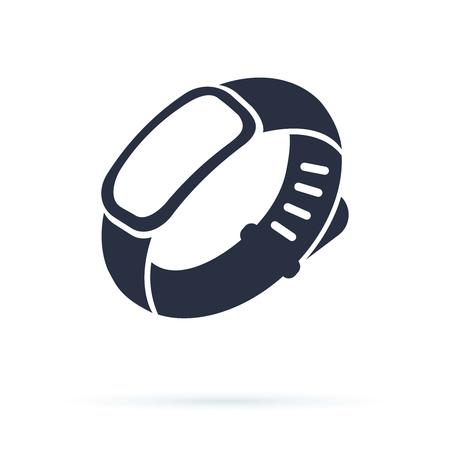 Pulsera para hombre de mano. Uso de pictograma negro de pulsera de goma en blanco para publicidad, promoción. Pulsera de control
