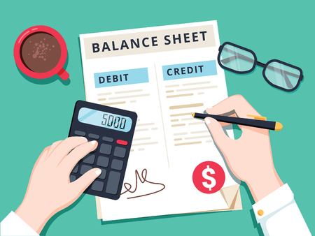 Accountant with report and a calculator checks money balance. Financial reports statement and documents.