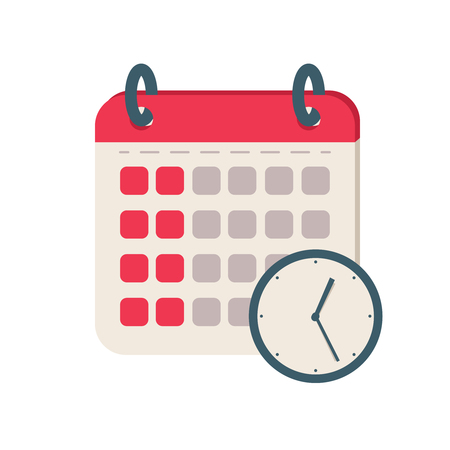 Calendar time icon. Flat illustration vector icon for web. Agenda binder concept design for planning. Zdjęcie Seryjne
