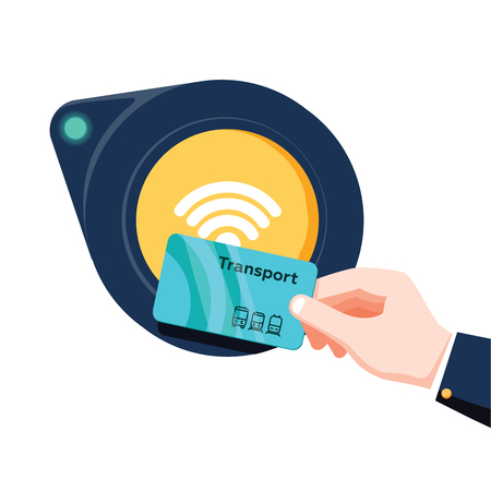 Hand holding transport card near terminal. Airport, metro or bus and subway ticket terminal validator. Wireless, contactless or cashless payments, RFID NFC. Vector illustration in flat style.