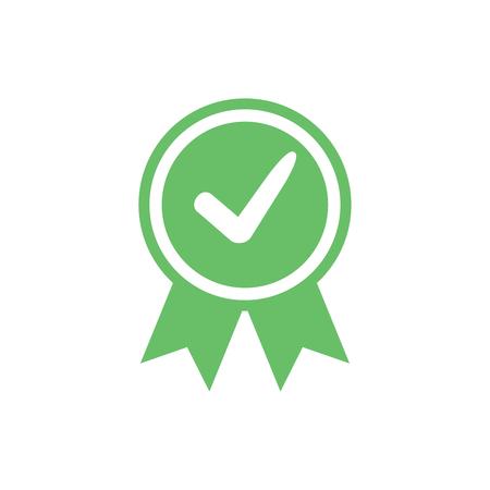 Icona certificata approvata. Icona sigillo certificato. Simbolo di accreditamento accettato con segno di spunta. Etichetta verde di assicurazione o riconoscimento commerciale autorizzato. Ok qualità vettore timbro sigillo di soddisfazione. Vettoriali