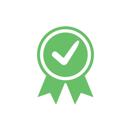 Approved certified icon. Certified seal icon. Accepted accreditation symbol with checkmark. Assurance or authorized award business confirmation green label. Ok quality satisfaction seal stamp vector.