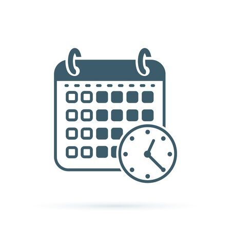 Calendar time icon. Flat illustration vector icon for web. Agenda binder concept design for planning. Reminder agenda