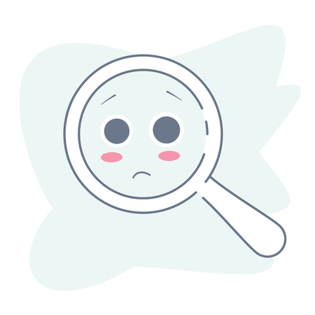 Upset magnifying glass, cute not found symbol and unsuccessful search.Zoom for 404 icon, no suitable results, oops page failure concept. Flat outline vector illustration of loupe or magnifier on white