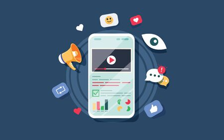 Video on mobile screen, video sharing and marketing flat vector concept with icons