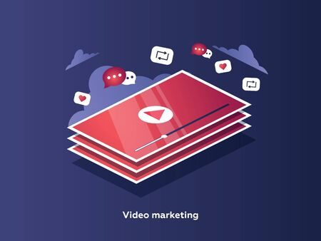Video marketing concept. Tablet screen with an icon of video player and icons for mobile applications. 写真素材