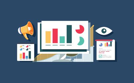 Website traffic monitoring, Website data analysis, Website audit flat vector design banner.