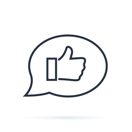 Positive feedback line icon. Communication symbol. Speech bubble sign. Quality design element. Editable stroke. Vector isolated illustration. Customer Experience Concept. Happy Client show Thumb Up.