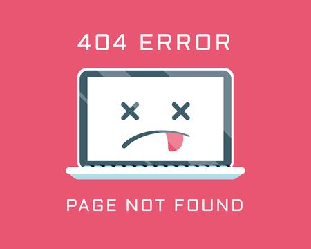 404 error like laptop with dead emoji. cartoon flat minimal trend modern simple logo graphic design