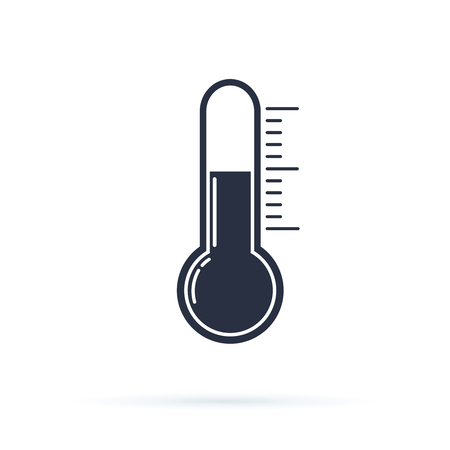 Thermometer flat vector icon. Temperature flat vector icon. Celsius or fahrenheit meteorology