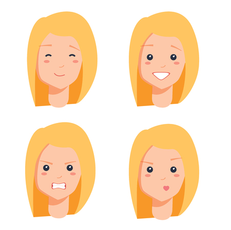 Four female faces colorful vector illustration of blonde portraits isolated on white background, red lips, bright teeth 스톡 콘텐츠
