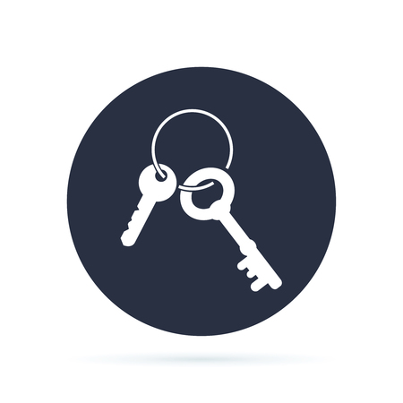 Keys Icon Round Circle Button. Vector Flat design illuatration. Access or security concept symbol design. Safe seal