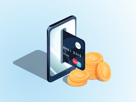 Flat isometric illustration of pile of bitcoins, the phone with a credit card in the slot. The transfer