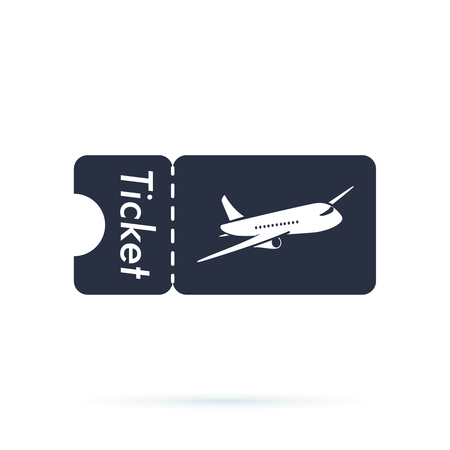 Tickets icon. Plane icon. Logo element. Web design icon with airplane template. Airlines travel concept business symbol. 스톡 콘텐츠