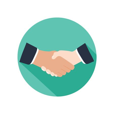 Handshake icon in flat design. Business concept