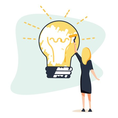 Big idea concept. Business woman draws large light bulb on wall. Symbol of new discoveries and startap. Web template.