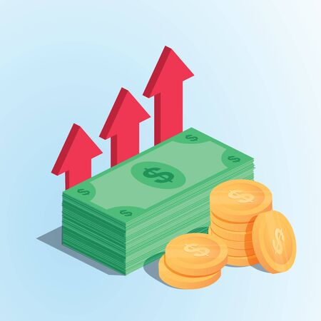 Profit money or budget vector illustration, flat cartoon pile of paper cash and rising graph arrow up