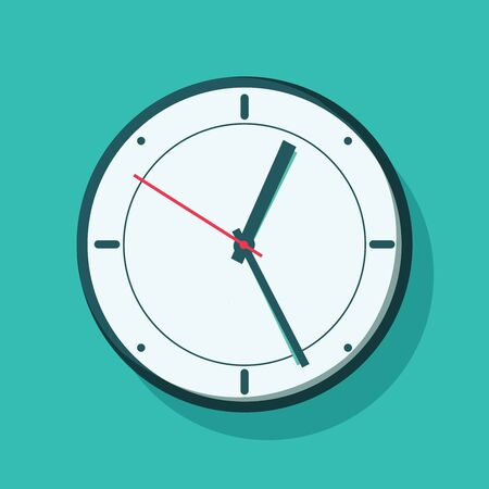 Clock hanging on wall. Vector illustration in flat style. Alarm or awake concept with clock on green background. Foto de archivo