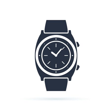 Watch vector icon isolated on white. Luxury man watches icon. Classic wrist chronograph clock . Mechanical wristwatch.