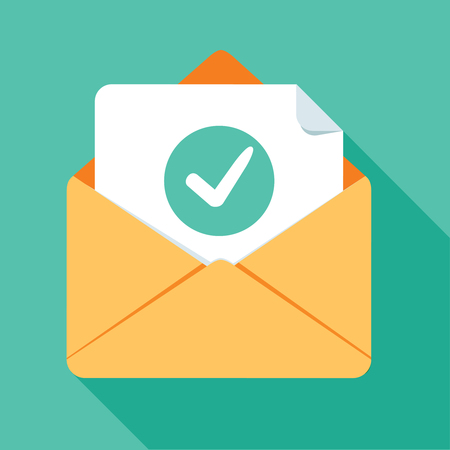 Opened envelope and document with green check mark line icon. Official confirmation message, mail sent successfully, e-mail delivery, verification email. Long shadow flat design. Vector illustration