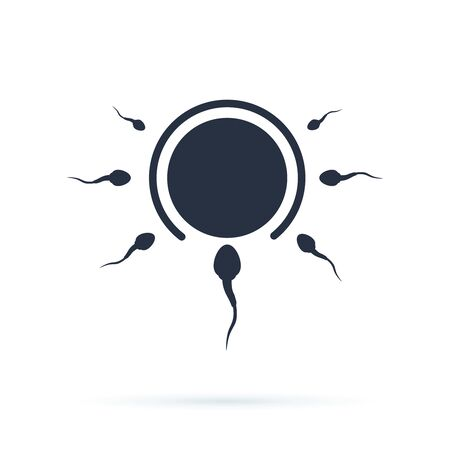 Abstract fertility vector icon illustration isolated on black background. Biological sperm copulation. Donor sperm